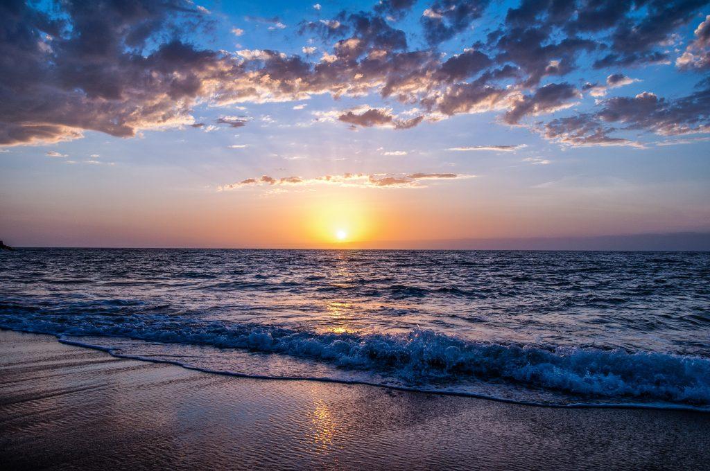 A sunset on the beach.